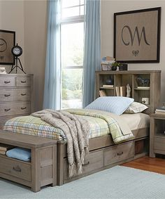 Another great find on #zulily! Driftwood Highlands Bookcase Twin Bed with…