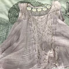 Free People Blouse Light Laventar all cotton and lace blouse from Free People.  A very feminine and fun blouse. Free People Tops Blouses