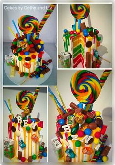 Rainbow Candy drip Birthday Cake