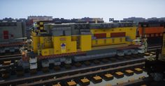 Scale] EMD - UP Union Pacific diesel electric locomotive Minecraft Map Minecraft Car, Minecraft City Buildings, Minecraft Modern, Minecraft Houses Blueprints, Minecraft Construction, Minecraft Architecture, Minecraft Memes, House Blueprints, Minecraft Creations
