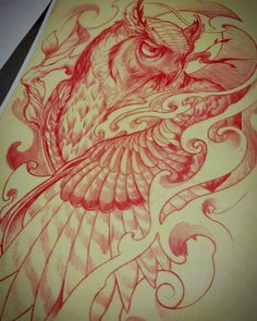 Tattooing that other owl inspired me so I sketched one up with an illustrative…