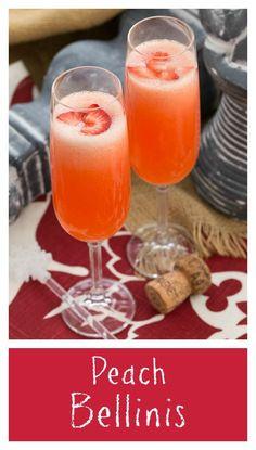 Peach Bellini | A slushy version of the famous Italian cocktail thatskinnychickcanbake.com @lizzydo #DoleRose