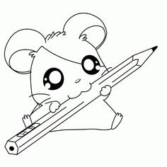 cute hamtaro with a pencil coloring pages printable and coloring book to print for free. Find more coloring pages online for kids and adults of cute hamtaro with a pencil coloring pages to print. Puppy Coloring Pages, Unicorn Coloring Pages, Easy Coloring Pages, Cat Coloring Page, Coloring Books, Coloring Sheets, Kids Coloring, Colouring, Hamtaro