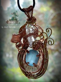 (by Le Gemme delle Fate -Sarah Sudcowsky Jewelry Art) -  Artwork Jewelry - FLUORITE (Pakistan); DIAMOND QUARTZ (Selvino, BG, ITALY). - COPPER and BRASS WIRE. - Wire Wrapping.