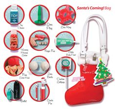 This one contains enough to last the full 12 days of Christmas: a finger vibe, a silicone c-ring, a plug, edible body paint, warming massage lotion, love beads, a vibrating bullet, a Santa pen, a condom lollipop, a mini lube on a keychain, a satin love mask, and toy cleaner. Best of all, the shiny fur-trimmed vinyl bag comes with a lock & key to keep out prying eyes.