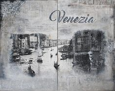 "Mixed media of Venice, Italy, with plaster, cardboard, tissue paper, acrylic paint and matte varnish. 60""x48"" (two pieces). For sale."