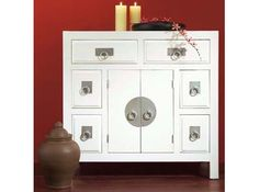 Contemporary white Chinese cabinet