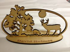 Laser Cut Deer Scene Desk Ornament  $ 19.99 Laser Engraved Gifts, Corporate Awards, Client Gifts, Amazing Things, Laser Engraving, Laser Cutting, Deer, Scene, Ornaments
