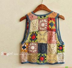 Granny Love Challenge N° 103 grannys gilet - Dane et le crochet Beau Crochet, Gilet Crochet, Crochet Blouse, Crochet Stitches, Crochet Hooks, Knit Crochet, Crochet Patterns, Point Granny Au Crochet, Granny Love