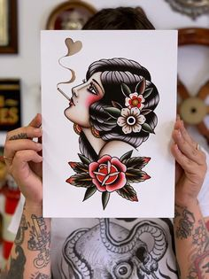 Tattoo print traditional tattoo print by Gaia Leone woman Traditional Tattoo Lady Head, Traditional Tattoo Prints, Traditional Tattoo Old School, Traditional Sleeve, Face Tattoos For Women, Sleeve Tattoos For Women, Gypsy Girl Tattoos, Leg Sleeve Tattoo, Leg Tattoos