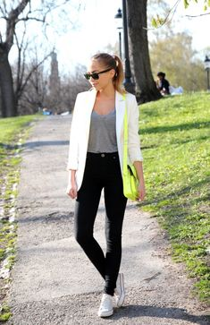 Neon bag + black and white = pure happiness