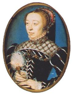 Catherine (1519-1589) was an heiress of the infamous Medici dynasty of Florence, and married Henri in 1533.  They were crowned king and queen of France in 1547.  In 1559, her husband died and Catherine began her singular odyssey as the central power in France.  She was the mother of the last three Valois kings, Francois II (who wed Mary, queen of Scots), Charles IX, and Henri III.