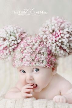 Baby photo prop hat with giant pom poms by conniemariepfost, $24.00