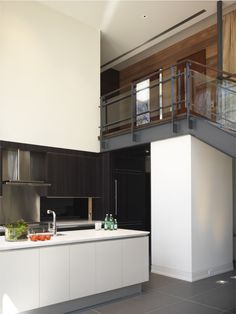 Remarkable Stair Railing decorating ideas for Cute Kitchen Contemporary design ideas with banister dark floor glass railing great room handrail kitchen island minimal neutral