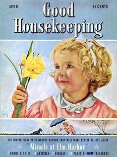 "Good Housekeeping magazine cover illustration, April 1939 -- by Horace ""Jock"" Gaffron (Scottish, Vintage Comic Books, Vintage Comics, Vintage Ads, Vintage Images, Vintage Prints, Vintage Ephemera, Vintage Postcards, Women's Day Magazine, Magazine Design"