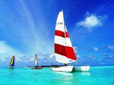 I'm sailing. I'm a sailor. I sail. Catamaran Sailing in Cancun Catamaran Charter, Sailing Catamaran, Charter Boat, Sailing Ships, Maldives Resort, Maldives Travel, Resort Spa, Water Bungalow, Maldives Holidays