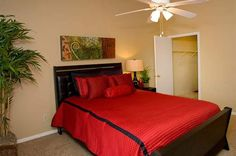Bedroom with walk-in closets at The Copper Hill Apartments in Bedford, TX