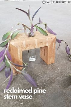 BEST SELLING Rustic Home Décor. Handmade in USA. Crafted from century old salvaged reclaimed Pine. Includes removable 4oz glass bottle.It's the perfect addition for any modern farmhouse, minimalist, rustic, boho chic or industrial home. Small enough to fit in any space, the stands are extremely versatile and can be used to display fresh flowers, air plants, fresh herbs, dried flowers, spices, candle, make-up brushes or even for plant propagation and air plants. SHOP NOW.