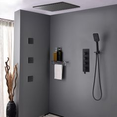 Modern Square Ceiling Mount Rain Shower System with Hand Shower & Body Spray Jets Shower Valve in Matte Black - Shower Systems - Shower Faucets - Bath & Faucets Shower Faucet Sets, Shower Fixtures, Shower Valve, Shower Set, Rain Shower System, Shower Systems, Modern Shower, Modern Bathroom, Bathroom Interior