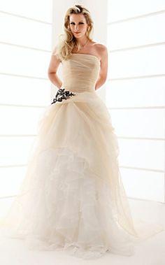 A-line Strapless Floor-length Organza Ruffles Wedding Dress