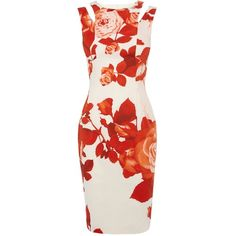Karen Millen Oversize floral dress ($299) ❤ liked on Polyvore featuring dresses, short dresses, vestidos, robes, short red dress, red sleeveless dress, red cutout dress, cutout dress and cut out dress