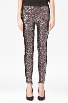 SO FUN! Tuxedo Sequinned Leggings - Trousers & Leggings - French Connection Usa