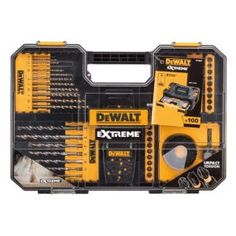 This DeWalt mixed drill bit set comes with 100 pieces and can be used with wood, masonry and metal, and organised in a carry case. Woodworking Drill Bits, Carpentry Tools, Dewalt Drill, Dewalt Cordless Tools, Dewalt Power Tools, Garage Tools, Tool Sheds, Work Tools, Tools And Equipment