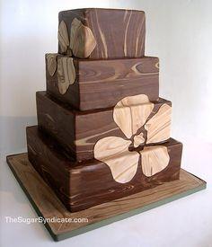 "so simple, yet so classy. ""wooden"" wedding cake"