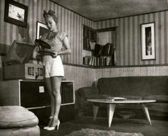 1950s girl, record player & fab decor via The Vintage Post Facebook.