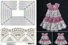 Tejido Facil: Vestidos crochet dress for girl with diagram Crochet Bolero, Gilet Crochet, Crochet Chart, Knit Crochet, Baby Girl Crochet, Crochet Baby Clothes, Crochet For Kids, Crochet Designs, Crochet Patterns