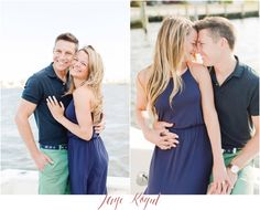 Engagement session outfit ideas, coordinate navy blue colors with greens and other cool tones - but you don't have to match completely! Dress from Marshalls, grooms polo from J.Crew. Point pleasant beach photos, Jersey Shore engagement photos