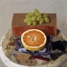 """Susan Jane Walp Grapefruit with Red-handled Knife, Grapes, and Black Ribbon 2004 oil on linen 10x10"""""""