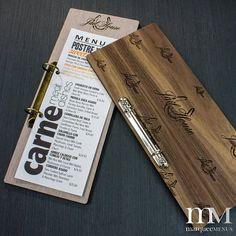 restaurant menu Custom Menu Holder With Binder Rin - Menu Restaurant, Bar Restaurant Design, Bar Menu, Restaurant Identity, Menu Original, Cafeteria Menu, Menue Design, Wood Menu, Cafe Menu Design