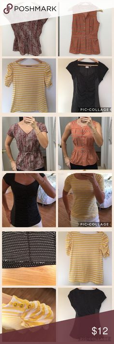 Shirt bundle. Closet clean out! The yellow one is Olivia Moon size S but fits more like an XS. 100% cotton. The black and white one is Anthropologie size XS. Black is a bit faded and there is some pulling on the inside of the shirt hem only. The orange is Banana size 2. The purplish one is Banana size PS. All showing minimal signs of standard wash and wear. All in overall good condition. Banana Republic Tops