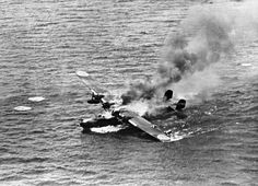 WWII Emily H6K flying boat burning in the water, ... | Aircraft- Japanese ...