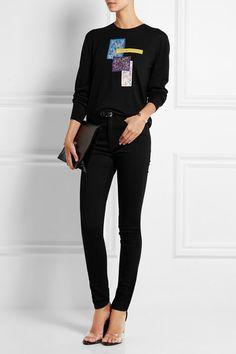 Black stretch-denim Button and concealed zip fastening at front 92% cotton, 5% polyester, 3% elastane Machine wash