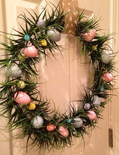 Pastel Egg Wreath/ Easter Egg Wreath/ Easter Twig Wreath/ Spring ...