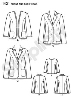 Pattern Reviews> Simplicity> 1421 (Misses' Unlined Jacket with Collar and Finishing Variations)