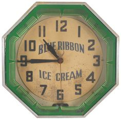 Blue Ribbon Ice Cream neon clock, mfgd by Neon Products