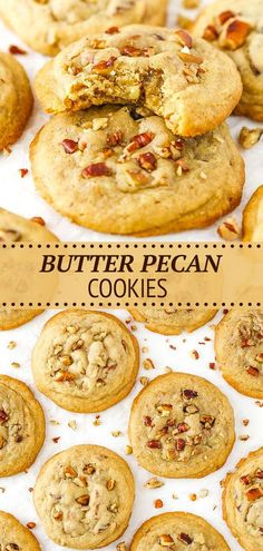 These easy homemade Butter Pecan Cookies are crunchy, soft, chewy and buttery. They get even better the second day too, making them a great cookie to make ahead! Best Cookie Recipes, Best Dessert Recipes, Baking Recipes, Butter Pecan Cookies, Yummy Cookies, Small Desserts, Fun Desserts, Delicious Desserts, Homemade Butter