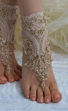 ♠ Champagne french lace sandals wedding anklet Beach by newgloves ♠ Wedding Accessories, Fashion Accessories, Bare Foot Sandals, French Lace, Anklets, Body Jewelry, Feet Jewelry, Beach Jewelry, Wedding Shoes