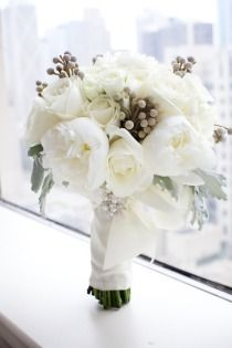 Great bouquet - gorgeous peonies, dusty miller and roses.