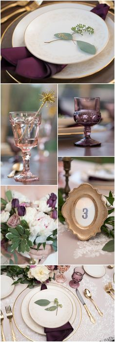 Gold & plum, gold-rimmed plates, eucalyptus leaves, lace tablecloth, picture frame, glass goblets, wedding table ideas // Corner House Photography Co.