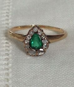 An Antique Emerald and Rose Cut Diamond Pear Shaped Halo in 14kt Gold Ring - Hannah