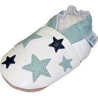 Dotty Fish Leder Babyschuhe - rutschfest Wildledersohle - chromfrei weiche Lederschuhe - Baby Jungen - weiß und hellblau Sterne