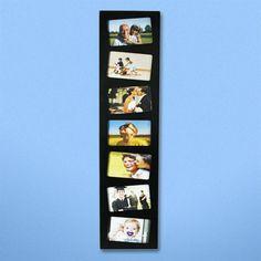Portafotos Vertical con 7 fotos de 10 x 15 cm. Estupendo marco vertical para poder colocar 7 fotografías de medidas: 10 x 15 cm. El marco está fabricado en madera y se sirve en color negro. Ideal como complemento decorativo para comedores o dormitorios. Medidas del marco: 86 cm de alto y 20 cm de ancho.