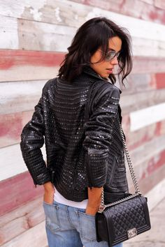 VivaLuxury - Fashion Blog by Annabelle Fleur: BOYFRIEND STYLE A.L.C. studded leather motorcycle jacket | MARC BY MARC JACOBS Bea on Mission tee | Current/Elliot The Fling destroyed rolled jeans | Isabel Marant Royston suede buckle boots / Chanel Boy flap bag in perforated leather December 17, 2014