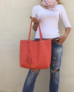 Free shipping/ Leather bag/ Peach pink tote bag/ от LaraKlass