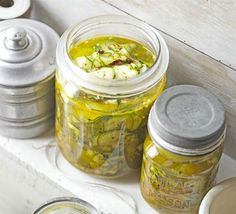 Crunchy courgette pickle, try this sharp pickle with cold poached salmon, burgers off the barbecue or just buttered bread. Is non iodised salt, less salty? Bbc Good Food Recipes, Cooking Recipes, Yummy Food, Top Recipes, Drink Recipes, Poached Salmon, Griddle Cakes, Tapenade, Pickles