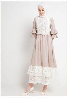 Barli Asmara for ZALORA Blance Dress Ruffle dress dengan victorian look detail panel brokat, Warna taupe #bajumuslim #abaya #abayafashion #gamis #gamismurah #gamissyari #gamiscantik #abayastyle #muslimfashion #muslimdress #afflink #fashion #elegantabaya #longsleeves #dresses #muslimfashion #islamicfashion #modestfashion #modestclothing #modestdress #islamicclothing#abayafashion #womensfashion #gamis #victorianabayastyle Modest Dresses, Modest Outfits, Dress Outfits, Hijab Outfit, Abaya Fashion, Modest Fashion, Fashion Outfits, Hijab Evening Dress, Evening Dresses